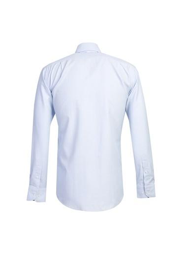 Kiğılı Uzun Kol Desenli Klasik Gömlek Mavi